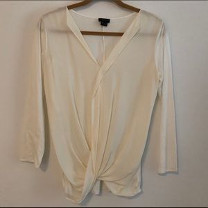 Theory - Long Sleeve Twist Front Silk Blouse